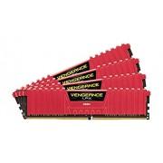 Corsair Vengeance LPX CMK16GX4M4B3466C16R Kit di Memoria RAM da 16GB, 4x4GB, DDR4, Rosso