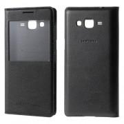 Husa Fllip Cu Fereastra Si Capac Baterie Spate Samsung Galaxy Grand Prime SM-G530H Folio Piele PU Neagra