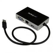 StarTech.Com Mini Docking Station per Laptop Universale, USB 3.0 con Uscita VGA e Gigabit Ethernet USB3.0 a GBE, Nero/Argento
