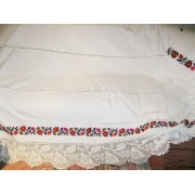 Antique hand woven and hand embroidered bed sheet with lace 6