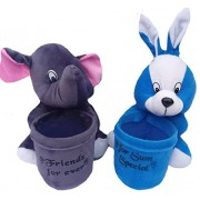 Aparshi Pack of 2 Pen Holders of elephant and rabbit soft toy -18 cm