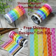 Shizaru Designs Exclusive. 5 Rolls of Colorful Washi Tape Approximately 33 Amazing Feet Per Roll.