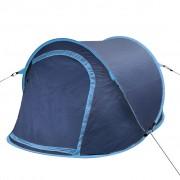 vidaXL Саморазгъваща се палатка, двуместна, тъмносиньо и светлосиньо