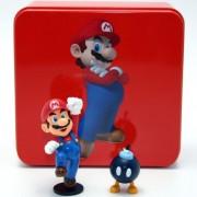 "Mario Super Mario Collector Tin Series 1 Figure-Super Mario & Bob-Omb Aprox 1.5"""