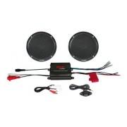 Pyle PLMRKT2B Amplificador de 2 canales y par de altavoces con mando con cables, color negro