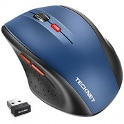 TeckNet® M002 2.4G Nano Cordless Optical Mouse - 18 Month Battery Life - Battery Level Indicator - 2.4 GHz -3 Adjustable DPI Levels: 2000/1500/1000dPi - Nano USB wireless receiver - Blue