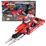 Bandai Year 2006 Power Rangers Operation Overdrive Series 8 1/2 Inch Long Action Figure Vehicle Set Red Hovertek Cycle That Morphs To Chopper With 2 Missiles Plus Red Power Ranger Figure