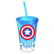 Marvel Captain America Symbol with Glow in The Dark Stars 16 oz Tumbler
