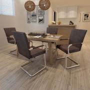 vidaXL Трапезни столове, 4 броя, кафяви, модерен дизайн, изкуствена кожа
