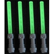 Lego Lightsaber Lot of 4: Glow-in-the-Dark Lightsabers with Hilts by LEGO [Toy] (English Manual)
