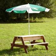 AXI Piknikový stôl so slnečníkom s priehradkami na vodu/piesok