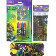Teenage Mutant Ninja Turtles School Supplies Gift Set Includes Teenage Mutant Ninja Turtles 12 Pack Of Pencils , Markers And Notepad With Sharpener, Inlcudes Tin Pencil Case