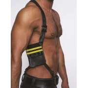 Mister B Leather Wallet Harness Black/Yellow 601303