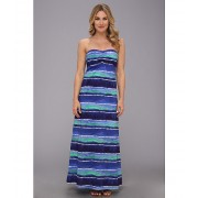 Tommy Bahama Water Waves Long Bandeau Dress Cover-Up Offshore Blue Multi