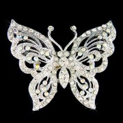 Swarovski Clear Crystal Cutout Butterfly Wedding Bouquet Brooch