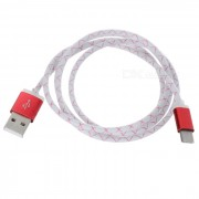 Fishing Net Pattern USB 3.1 Type C to USB 2.0 Data Sync & Charging Cable - White + Red