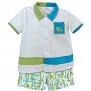 Stephan Baby Go Fish Bowling Shirt and Fishie Print Diaper Cover 6-12 Months