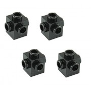 Lego Parts: Brick, Modified 1 x 1 with Studs on 4 Sides (PACK of 4 - Black) by B&F-BuildPacks