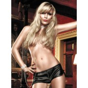 Baci Black Satin French Knickers with Side Slits 1098 - Small/Medium