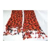 sciarpa ponpon ai ferri acrilico - rosso-bordeaux-nero