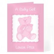 Pink Personalised Teddy Card
