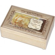 Cottage Garden Mom Loved Champagne Silver Petite Rose Music Box / Jewelry Box Plays Amazing Grace