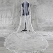 Véus de Noiva Uma Camada Véu Capela Véu Catedral Borda com aplicação de Renda Tule Branco Marfim
