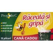 Propolis C Raceala si Gripa (15 plicuri) + Cana Cadou