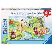 Puzzle 2 in 1 - Animale jucause, 48 piese