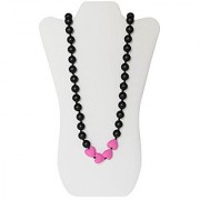 Little Teether Lovely Teething Necklace for Baby Nursing - Stylish Silicone Necklace for Moms Teether for Babies. Provides Teething Pain Relief. Teething Remedy Approved by Mothers! - Black & Pink