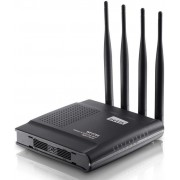 Router Wireless Netis WF2780, DSL, Gigabit, Dual Band, 1200 Mbps, 4 Antene externe omnidirectionale + Cablu UTP Patch cord Gembird cat. 5E, 3m