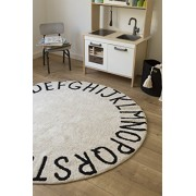 Alfombra lavable Round ABC Natural-Black Lorena Canals