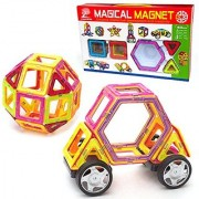 Magnetic Tile Building Set 40 Piece Kit with Wheels Educational Toys that Teach Colors Shapes and Patterns; Build Ca
