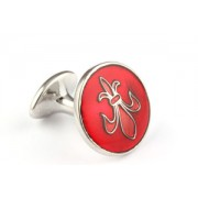 Mousie Bean Enamelled Cufflinks Fleur de Lys 070 Tonal Red