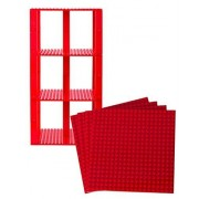 """Premium Red Stackable Base Plates - 4 Pack 6"""" x 6"""" Baseplate Bundle with 30 Red Bonus Building Bricks (LEGO Compatible) - Tower Construction"""