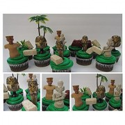 EGYPTIAN Adventure 12 Piece Birthday CUPCAKE Topper Set Featuring 4 Egyptian Figures Themed Decorative Accessories Figures Average 3 Tall
