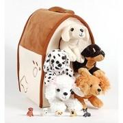 Unipak 12 Plush Dog House Carrying Case with Five (5) Stuffed Animal Dogs (Dalmatian Yellow Labrador Retriever Rottweiler Poodle and Cocker Spaniel) + Free Bonus Five Mini Puppy Figures