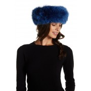 Mitchies Genuine Dyed Fox Fur Headband DENIM BLUE