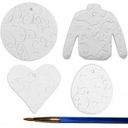 Fancy Textured Ornaments and Paint Brush Set - Set of 4 - Paint Your Own Ceramic Keepsake
