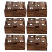 Juego de 6 - 2 en 1 juego de madera configurado tic tac toe juego de mesa solitario - ideas de los regalos -12.7 x 12,7 x 3,8 cm