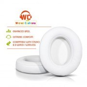 Wicked Cushions Beats Replacement Earpads - Compatible with Studio 2.0 Wired / Wireless Over Ear Headphones by Dr. Dre ONLY ( DOES NOT FIT SOLO 2.0 )   White