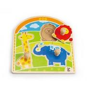 """Hape E1302 - Puzzle con Pomello """"Allo Zoo"""", Multicolore"""