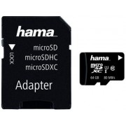 Card de memorie Hama microSDXC, 64GB, Clasa 10, pana la 80 MB/s, UHS-I + Adaptor SD