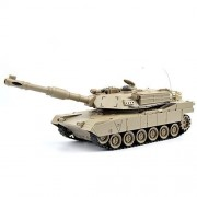 GizmoVine RC Fighting Battle Tank USA M1A2 1:28 - Remote Control Battling Tank Toys for Kids, Boys 27Mhz - Khaki