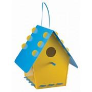 Tweet Tweet Home Recyclable Plastic Flatpacked Classic Bird House - Yellow/ Blue