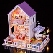 Imported Diy Wooden Dolls House Miniature Kit W/ Light -Purple Villa