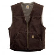 Carhartt Sandstone V-Neck Vest - Sherpa Lining Factory Seconds DARK BROWN (40)