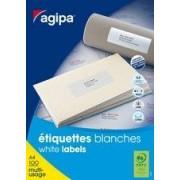 Agipa Etiquettes Coins Droits - Étiquettes Adhésives Permanentes - Blanc - 70 X 35 Mm - 6500 Étiquette(S) ( 100 Feuille(S) X 24 ) -