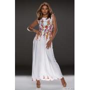 Rochie lunga de vara cu imprimeu floral alb