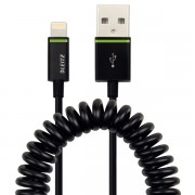 Cablu de date spiralat Leitz Complete Lightning - USB, 1 m, negru